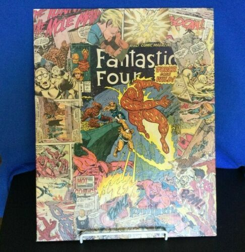 OOAK Fantastic Four 313 Torch Goes Wild Mod Podge Collage Canvas Panel Wall Hang