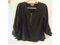 Khaki zip front blouse