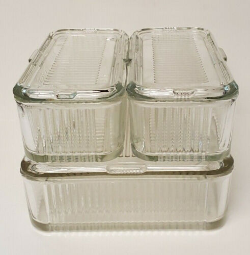 Vintage Clear Glass Refrigerator Dish Set 6 Piece Complete Square 2 Rectangles