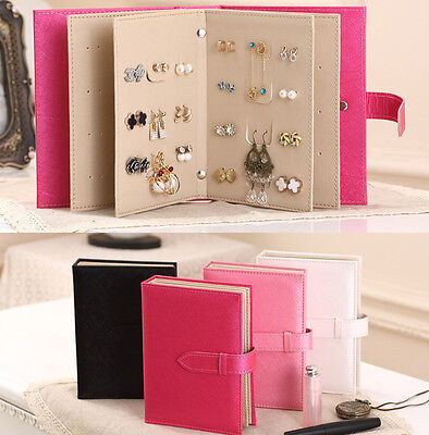 Leather Earrings Storage Book Binder Stand Display travel gift jewelry Box Case ()