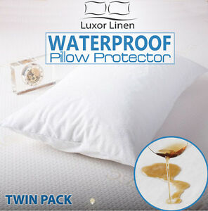 2x Waterproof Pillow Protector Terry Cotton Cover Case Breathable Anti Allergy