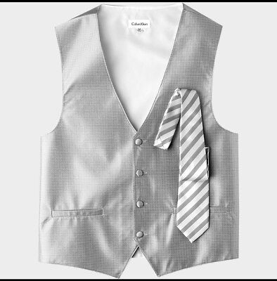 Calvin Klein Silver Houndstooth Formal Vest with Euro Tie SIZE Large *Brand New*
