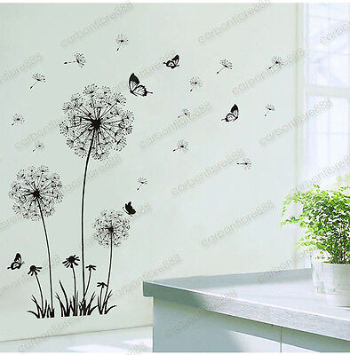Home Decoration - Dandelion Black Flowers Wall Stickers Art Decal Mural Home Decor Living Room