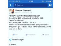 2 Ronan keating tickets for sale both tickets £50