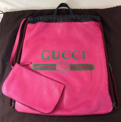Gucci 516639 Pink Logo Print Leather Drawstring Backpack Purse Bag
