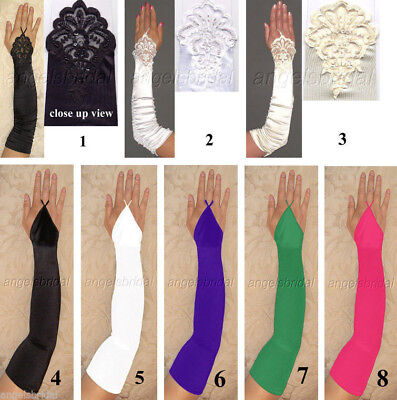 FINGERLESS OVER ELBOW LENGTH STRETCH SATIN HALLOWEEN PARTY COSTUME OPERA - Opera Length Gloves
