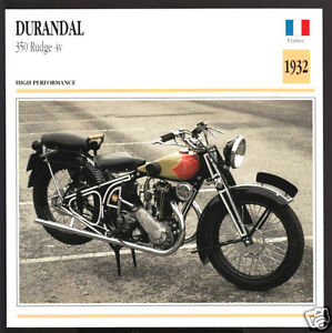 1932-Durandal-350cc-Rudge-4v-France-Motorcycle-Photo-Spec-Sheet-Info-Stat-Card