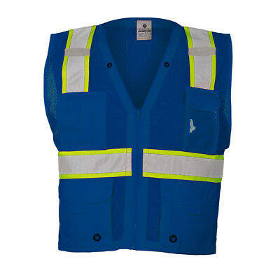 ML Kishigo Reflective Mesh Safety Vest with Pockets, Blue