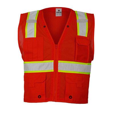 ML Kishigo Reflective Mesh Safety Vest with Pockets, Red