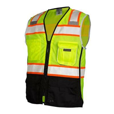 Ml Kishigo 1515 Class 2 Reflective Black Bottom Safety Vest With Pockets Yellow