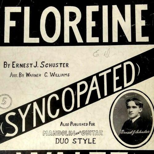 1909 Floreine Waltz Syncopated Ernest Schuster Indianapolis Antique Sheet Music