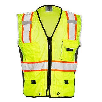 Ml Kishigo Heavy Duty Class 2 Reflective Safety Vest With Pockets Yellowlime