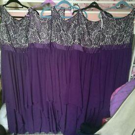 5x purple bridesmaid dresses