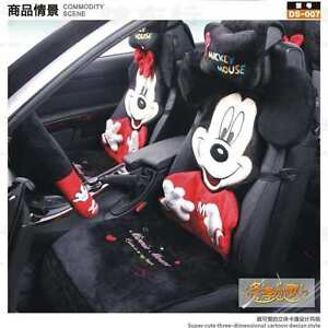 12 Piece Red M Mickey And Minnie Mouse Fluffy Winter Car Seat Covers