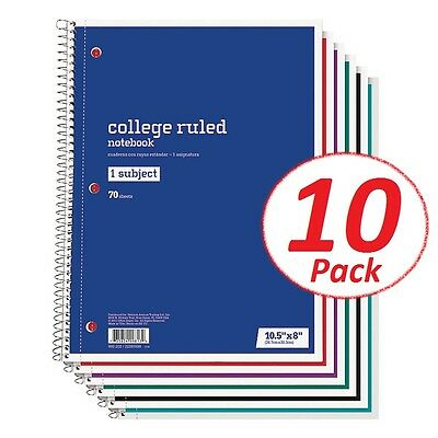 (Spiral Notebook 1 Subject 70 Sheets College Ruled LOT OF 10 Spiral Notebooks)