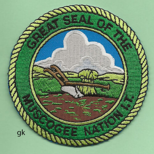 OKLAHOMA GREAT SEAL OF THE  MUSCOGEE NATION  TRIBAL PATCH