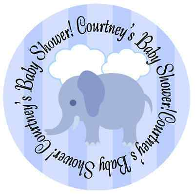 BLUE ELEPHANT BABY SHOWER PARTY PERSONALIZED ROUND STICKERS FAVORS OWLS LABELS - Baby Shower Favors Owls