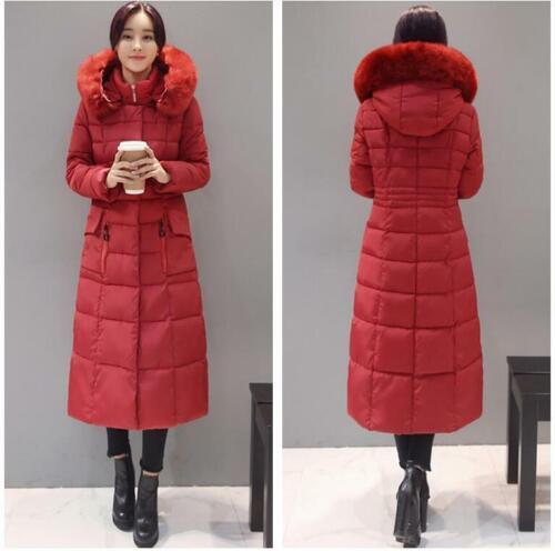 Size M-4XL Womens Puffer Hoodies Fuax Fur Collar Maxi Long Down Coat Jacket