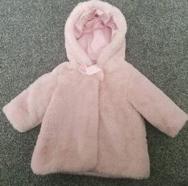 5a961e5860c7 Baby Girl pink Asda George fur winter coat - Size 0 to 3 months - Primark