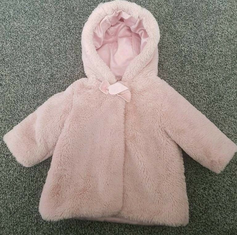 c5ae78a54 Baby Girl pink Asda George fur winter coat - Size 0 to 3 months ...