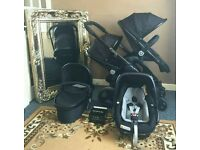 Icandy peach 3 blossom in jet black with carrycot and car seat