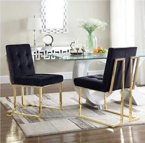 Modern golden legs velvet dining chair - multiple colours