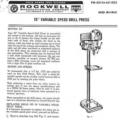 Delta 15 Variable Speed Drill Press Set Up Maintenance Parts List Pdf