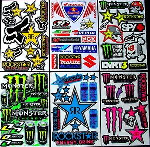 6 New Rockstar Energy Sticker Motocross MX Decals Graphic Kit Logo BMX Bike wSW