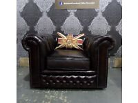 Stunning Vintage Chesterfield Club Arm Chair in Oxblood Leather - UK Delivery
