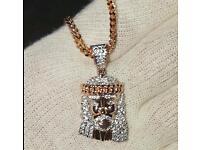 Rose Gold Jesus Pendant & Chain