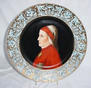 Fine Firenze Painting On Porcelain Circular Plaque Portrait *Gorgeous* Ca1900