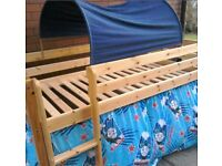 Kids bunk bed Mid Sleeper Wooden Pine Cabin Bed With Lader