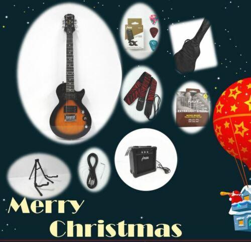 Sunburst Epiphone Traveler Size Les Paul Express Electric Guitar Pack+10Watt Amp