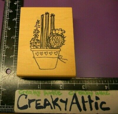 POTTED CACTUS PLANTS FOLK ART RUBBER STAMP IMAGINATIONS F536D CREAKYATTIC for sale  Shipping to India