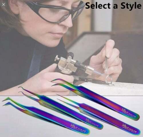 Multi Color Stainless Steel Tweezers Workshop Repair Fine Precision Tips Pliers