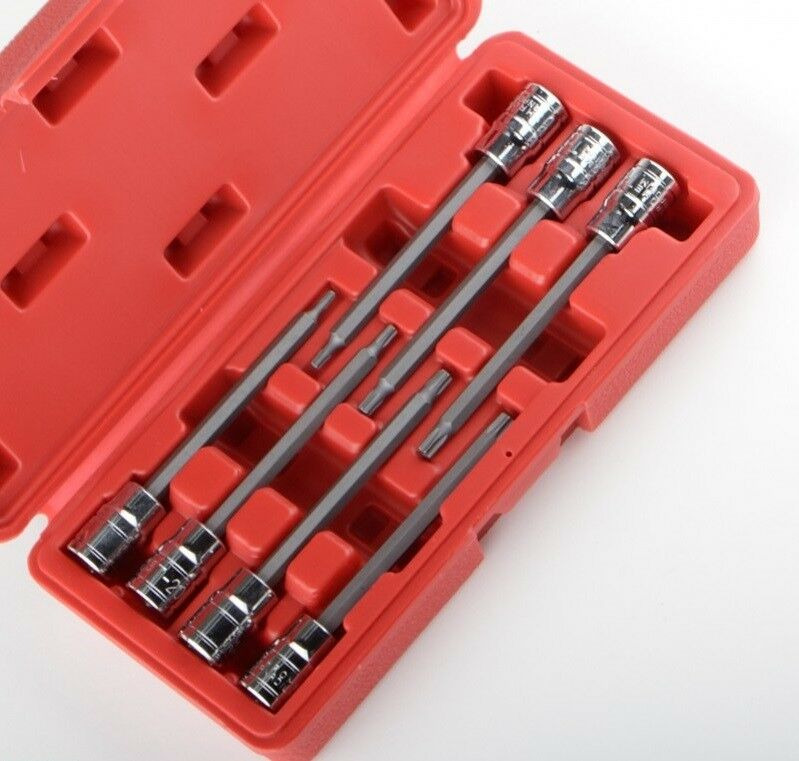 3/8 Extra Long Torx Deep Bit Socket Set Star Torque 7pc CRV with CASE NEW