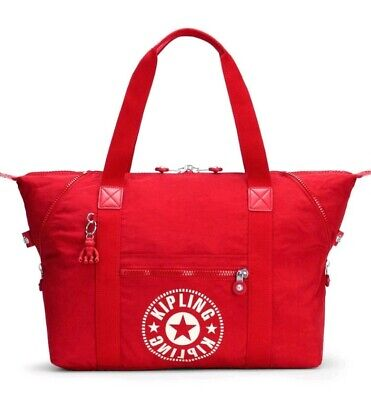 NEW kipling Art M lively red C travel  gym tote  bag Rrp£94