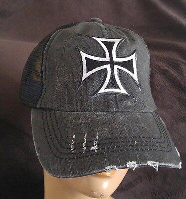 Iron Cross Hat (Iron Cross Distressed Soft Mesh Black Ball Cap Unstructured Hat Silver Cross )
