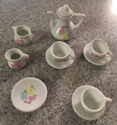 Vtg Strombecker Corp Barbie Dollhouse Miniature Tea Set Porcelain PARTIAL SET