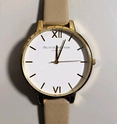 OLIVIA BURTON OB16BDW35 WATCH WITH 38mm WHITE FACE & SAND COLOR LEATHER BAND. Face Color White Band