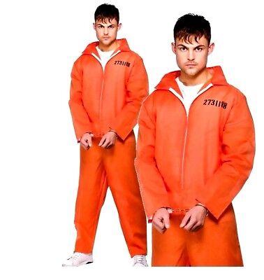 Adult ORANGE CONVICT Inmate Prisoner Fancy Dress Costume Mens Jail Boiler Suit (Adult Prisoner Costume)