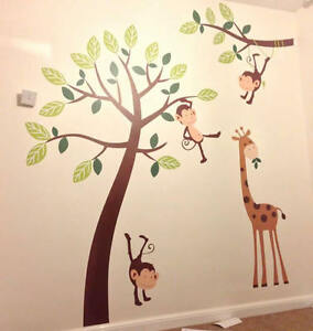 Monkey Tree Giraffe Jungle Nursery Wall Art Stickers, Wall Decals, Wall Graphics