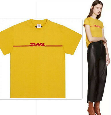 Mens Vetements Tee Dhl Yellow T Shirt Unisex Graphic Printed G Dragon Tee Tops