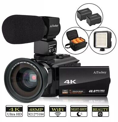Video Camera 4K Camcorder AiTechny HD Digital WiFi Vlogging Camera 48MP 16X Digi