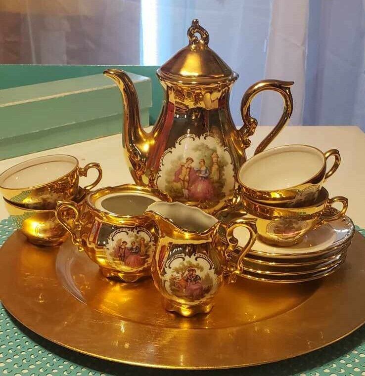 19th century Gild gold antique German tea set
