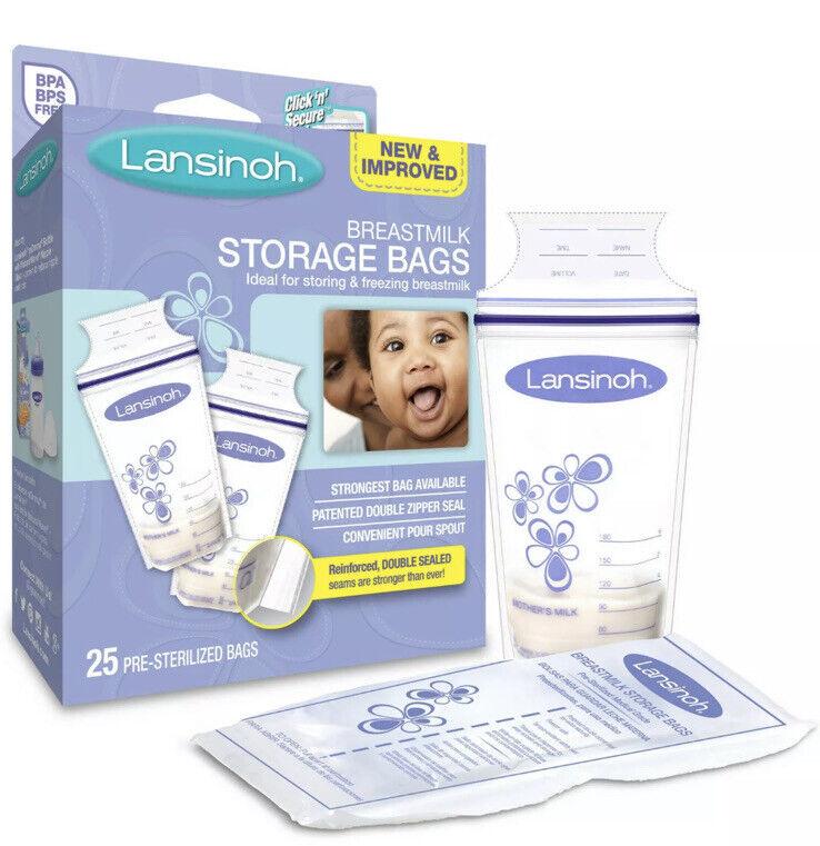 Lansinoh Pre-Sterilized Breastmilk Storage Bags, 25ct