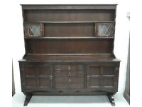 Dark Oak Welsh Kitchen Dresser With Shelves, Drawers And Cupboards