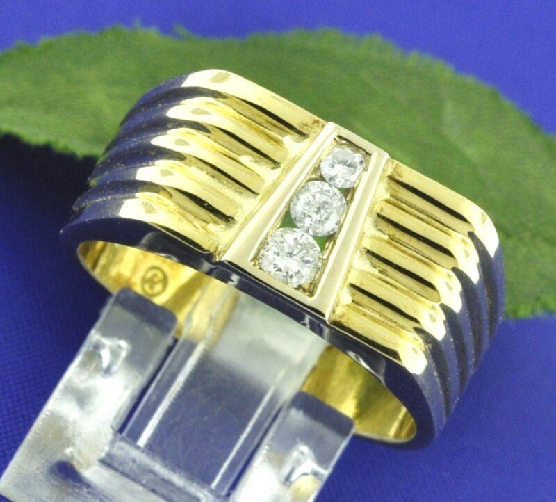 0.28ct 18k Solid Yellow Gold Mens Natural Diamond Ring 3 Stone 11.5gram Made Usa