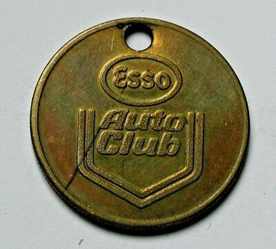 Esso (Gas Station) Auto Club Brass Keychain Fob numbered for key return & holed