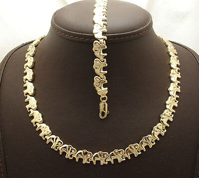 All Shiny Elephant Bracelet Necklace Set 14K Yellow Gold Clad Silver 925 34.10gr